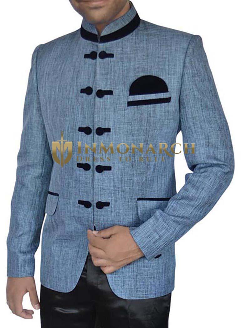 Outstanding Steel-blue 3 Pc Jodhpuri Suit