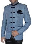 Mens Steel Blue Jute 3 Pc Jodhpuri Suit