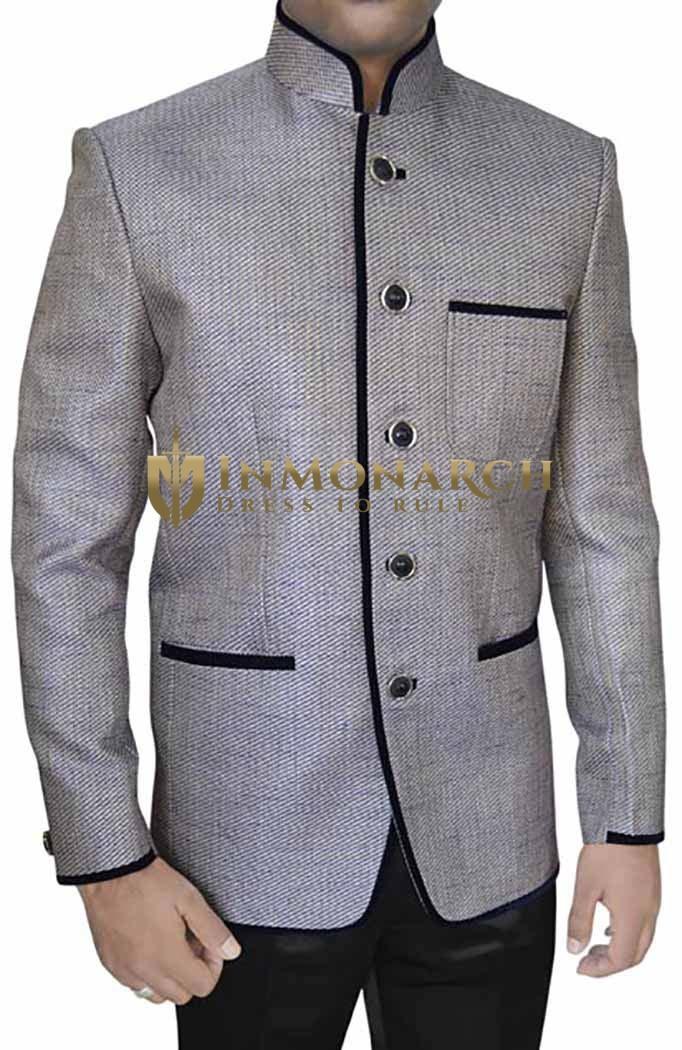 Mens Silver Jute 2 Pc Jodhpuri Suit Velvet Trimmed