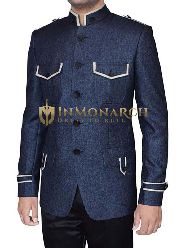 Mens Steel blue 2 Pc Jodhpuri Suit Band collar Safari