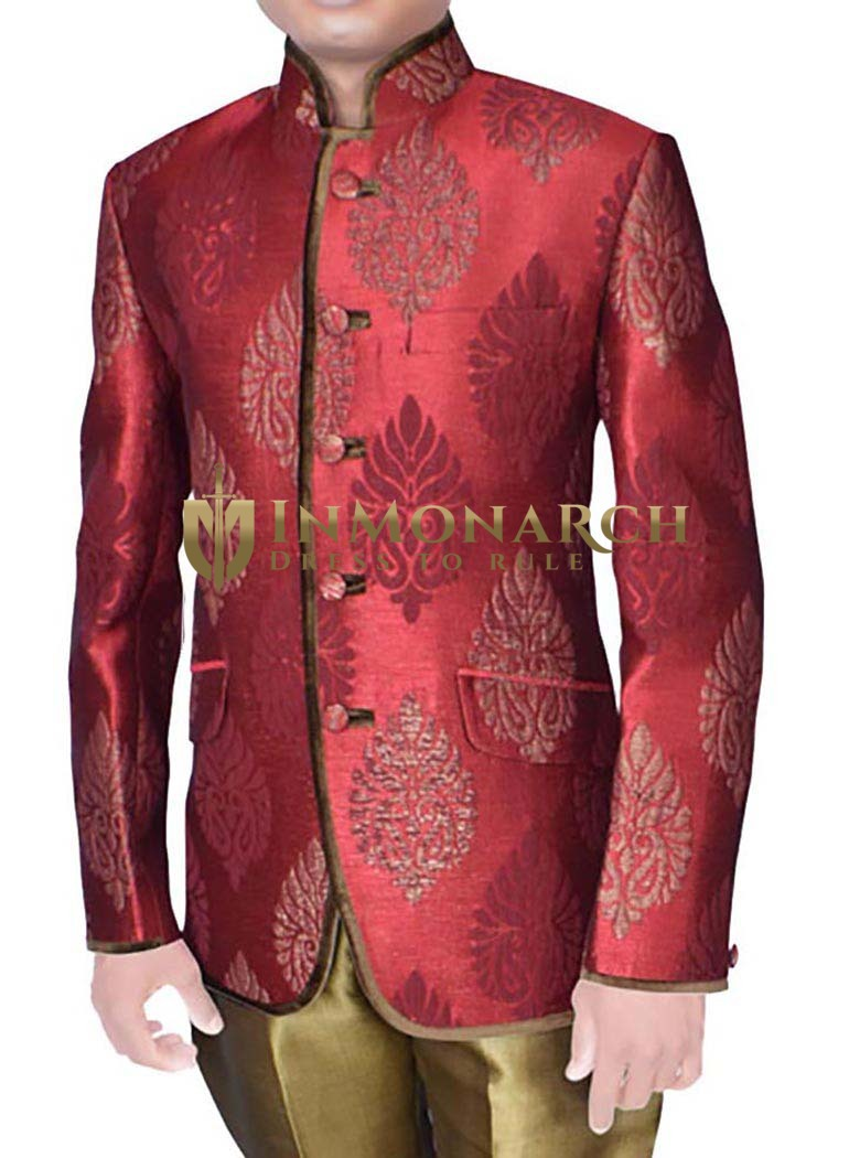 Mens Maroon Brocade 2 Pc Jodhpuri Suit