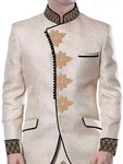Mens 2 Pc Cream Jodhpuri Suit Embroidered