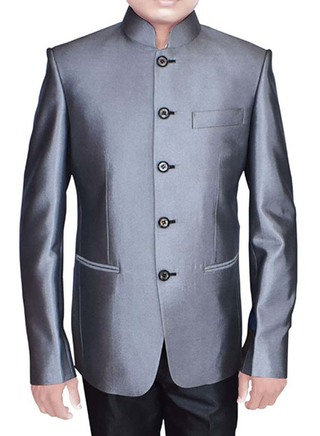 Mens Gray Polyester 2 Pc Jodhpuri Suit Engagement
