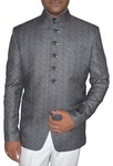 Mens Gray Self Design Polyester 2 Pc Jodhpuri Suit
