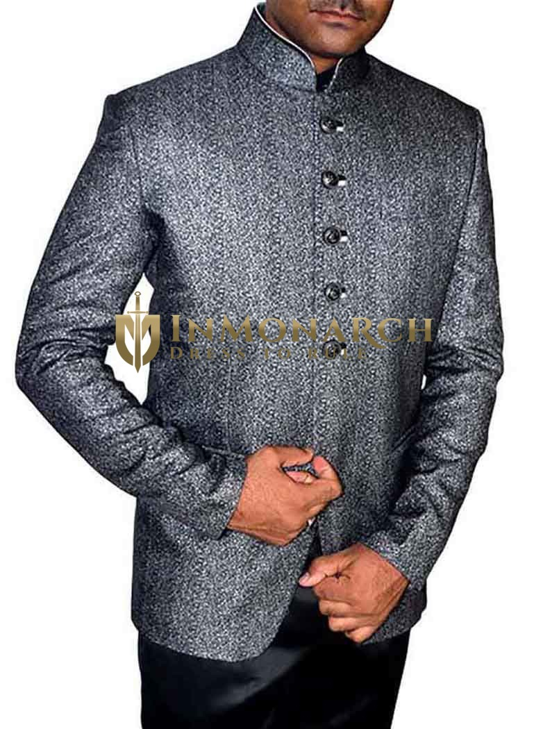 Mens Gray 2 Pc Jodhpuri Suit Self Design