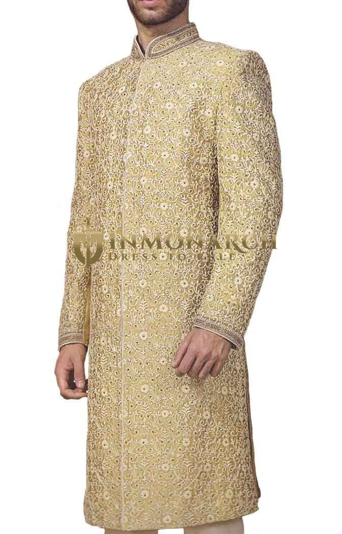 Mens Golden 3 Pc Wedding Sherwani Machine Embroidered