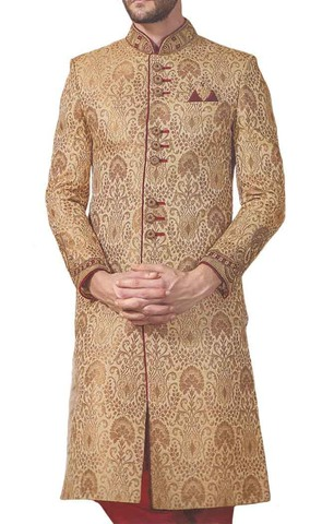 Mens Tan Traditional Embroidered 3 Pc Wedding Sherwani