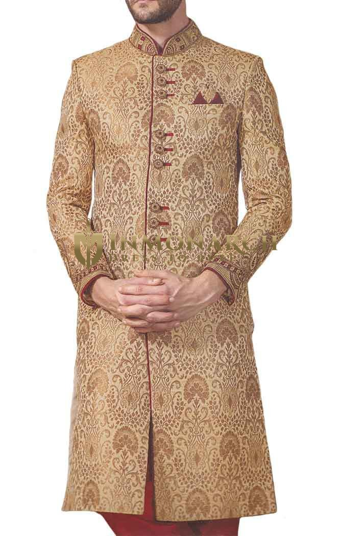 Mens Western Attire Tan Traditional Embroidered Wedding Sherwani