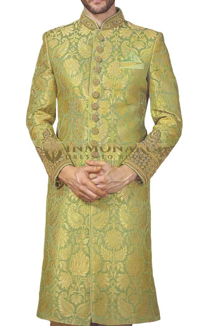 Mens Indo Western Green Wedding Sherwani Embroidered