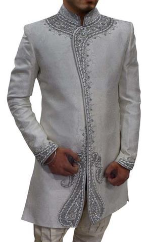 Mens Cream Brocade 2 Pc Indo Western Wedding