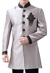 Mens Gray Polyester 2 Pc Indo Western Black Embroidered