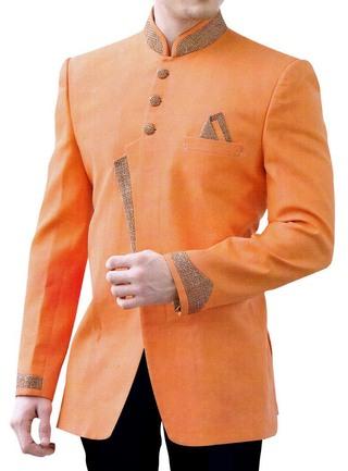 Mens Sherwani Orange Linen Patched Indo Western Sherwani Wedding