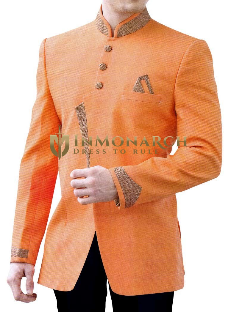 Mens Orange Linen 3 Pc Patched Indo Western
