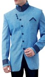 Mens Blue Linen 3 Pc Indo Western High Neck