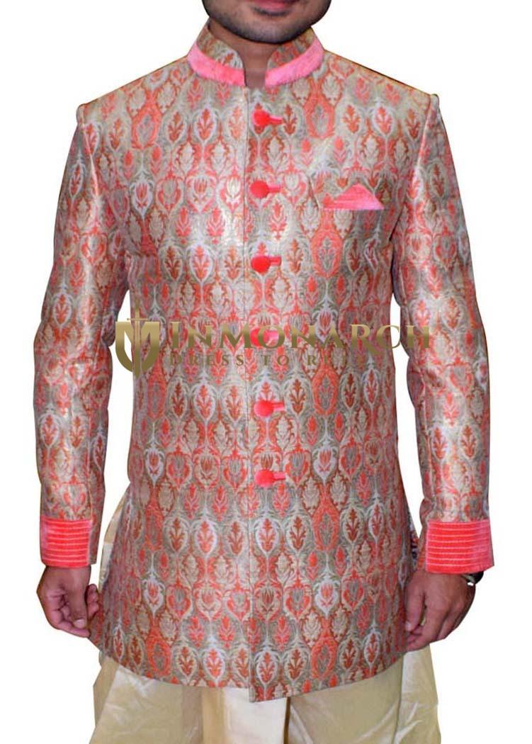 Mens Pink Kheenkhap Indo Western Designer 3 Pc