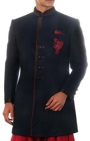 Mens Blue 3 Pc Indo Western Satin Trimming