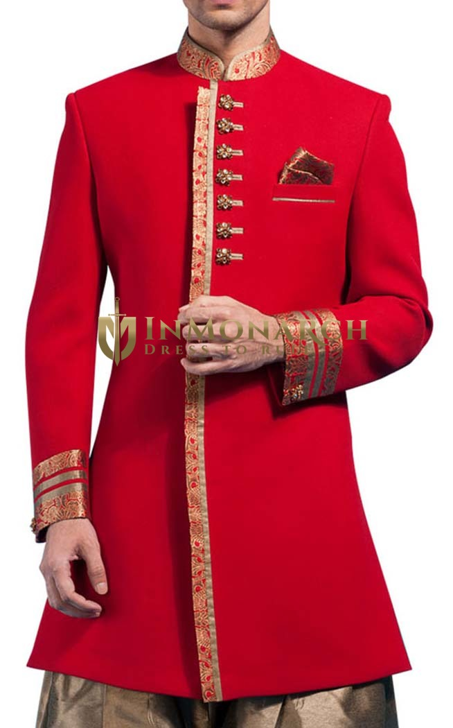 Mens Crimson Red Imported 3 Pc Indo Western Ethnic