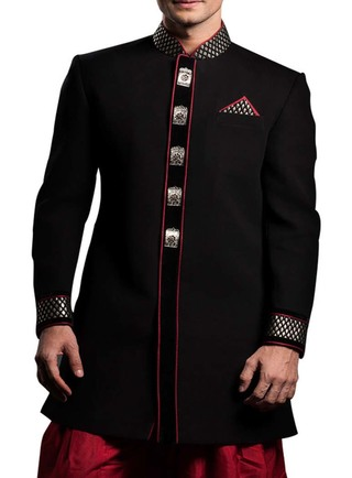 Indian Wedding for Men Black Indo Western Designer Work Sherwani