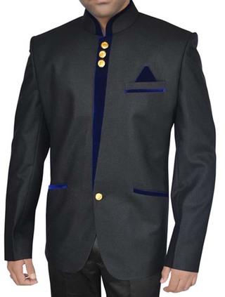Mens Black Nehru Suit Ethnic 3 Pc