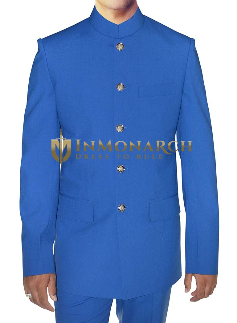 Mens Blue 2 Pc Indian Nehru collar Suit  Stylish Wedding