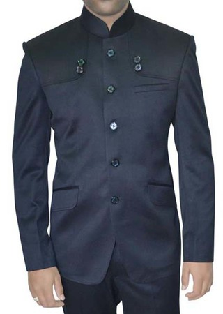 Mens Navy Blue 2 Pc Indian Nehru collar Suit Partywear