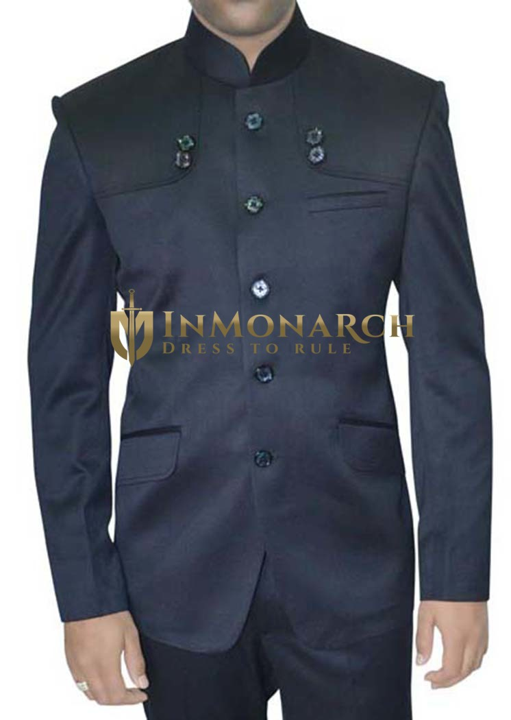 Mens Navy Blue 2 Pc Nehru Suit Partywear