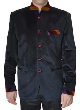 Mens Black Velvet 2 Pc Indian Nehru collar Suit Designer