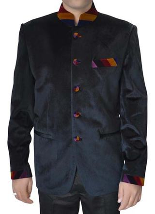Mens Black Velvet 2 Pc Nehru Suit Designer