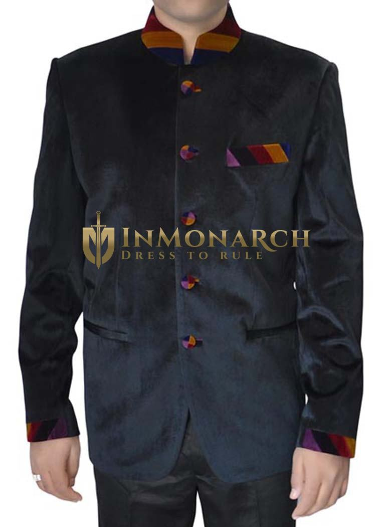 Mens Black Velvet 2 Pc Indian Nehru collar Suit Designer