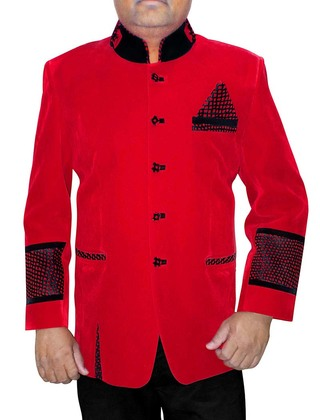 Mens Red Velvet 3 Pc Indian Nehru collar Suit Patch Work