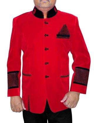 Mens Red Velvet 3 Pc Indian Nehru collar Suit Patch Work