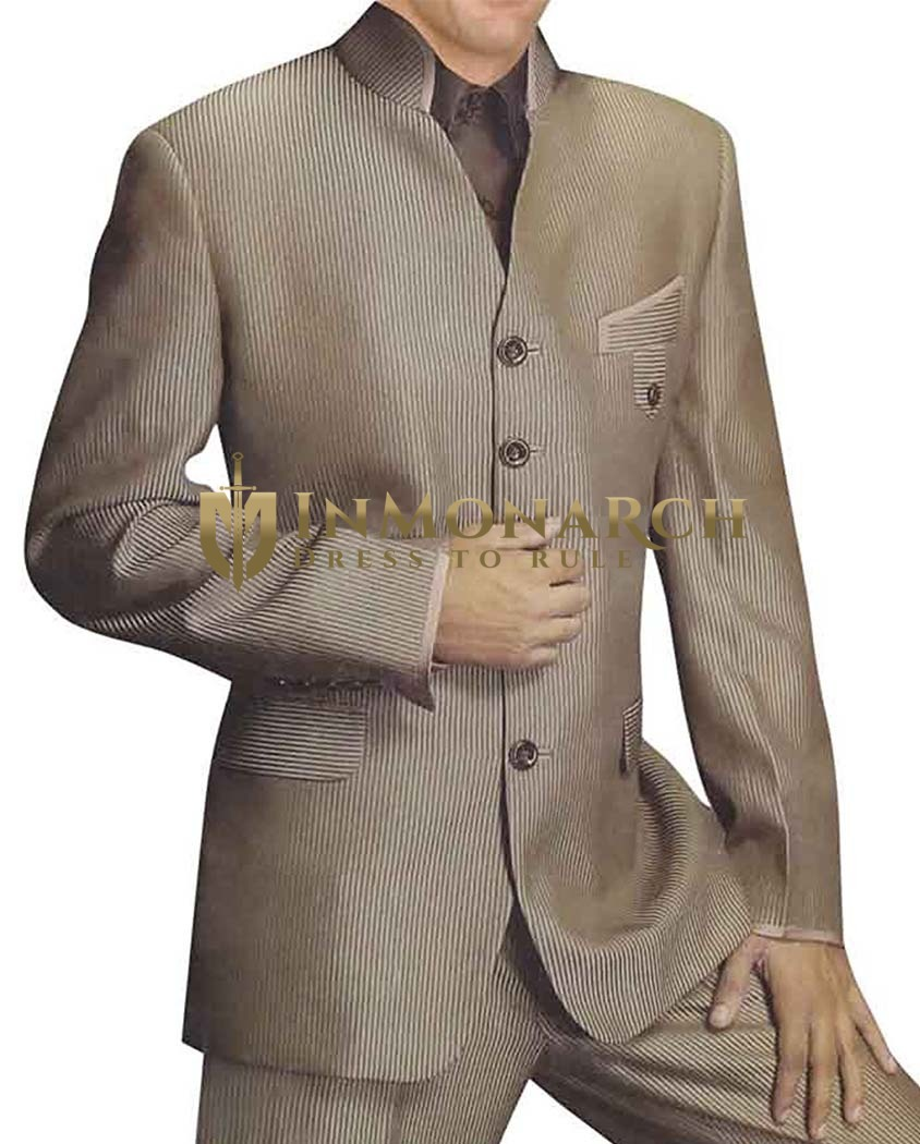 Mens Olive Drab 2 Pc Indian Nehru collar Suit Designer V Neck