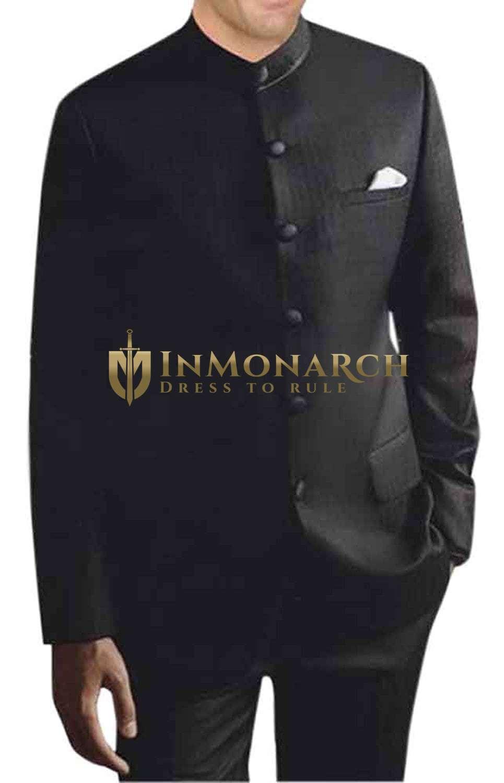 Mens Black 3 Pc Nehru Collar Suit 6 Button
