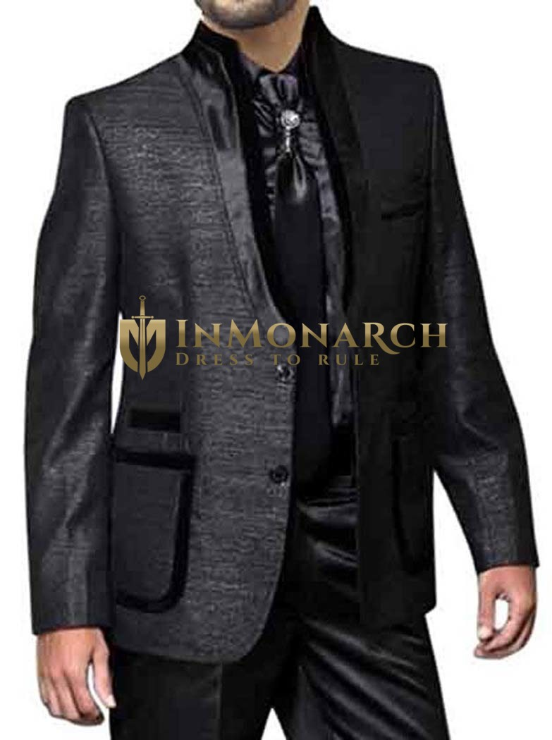 Mens Black 2 Pc Partywear Indian Nehru collar Suit 2 Button