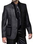 Mens Black Oriental Style Suit 2 Pc