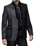 Mens Black 2 Pc Partywear Nehru Suit 2 Button