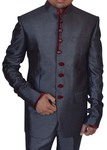 Mens Gray 2 pc Polyester Tuxedo Suit Maroon Trimmed