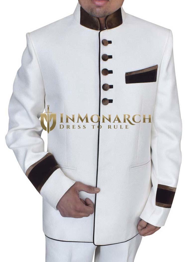Mens Cream 2 pc Jute Jodhpuri Tuxedo Suit