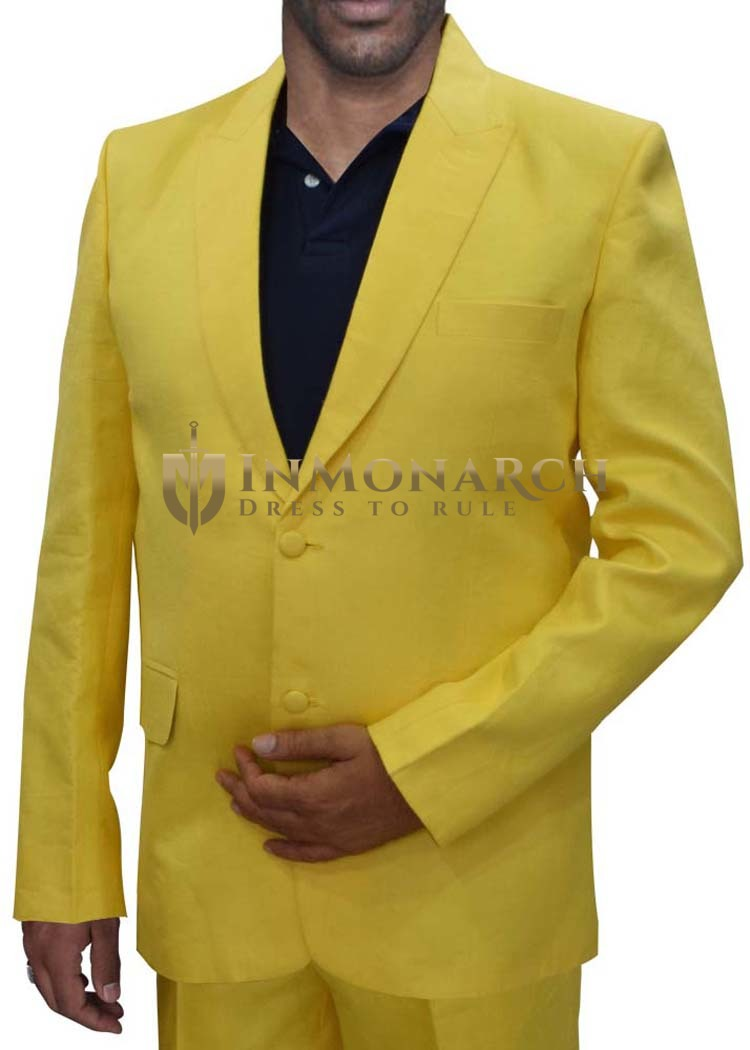 Mens Yellow Linen  3 Pc Tuxedo Suit Peak Lapel