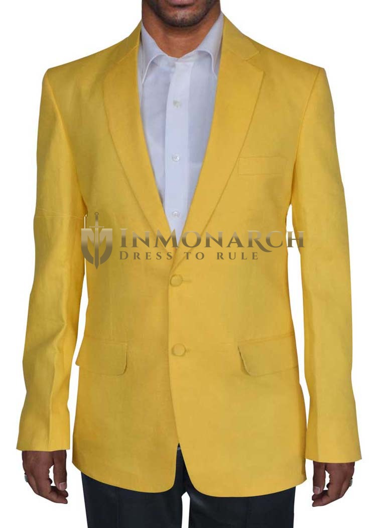 Mens Yellow 3 Pc Linen Tuxedo Suit Notch Collar