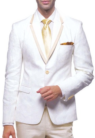 Mens Cream 5 Pc Linen Tuxedo Suit Trim Collar