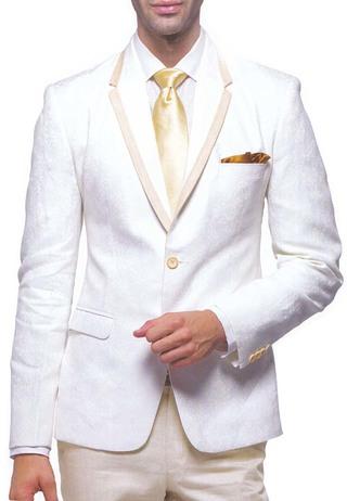 Mens Cream 5 Pc Linen Tuxedo Suit Trim Collar