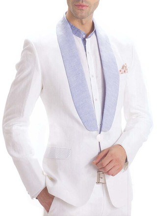 Mens White 4 Pc Linen Tuxedo Suit One Button