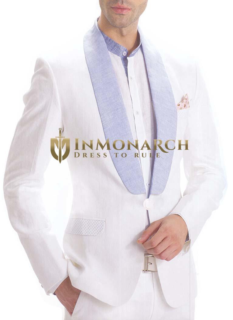 Mens White 4 Pc Linen Tuxedo Suit One Button