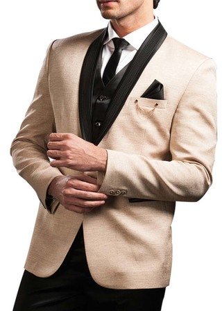 Mens Cream 6 Pc Tuxedo Suit Shawl Lapel