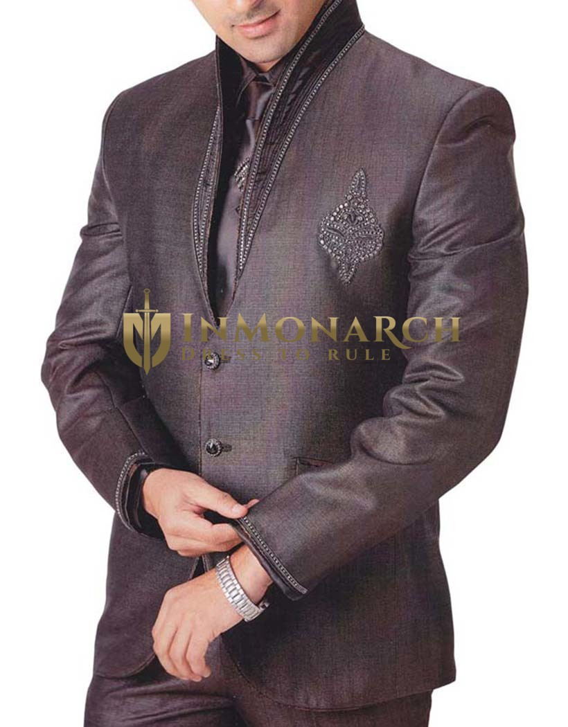 Mens Brown 5 pc Tuxedo Embroidered Wedding