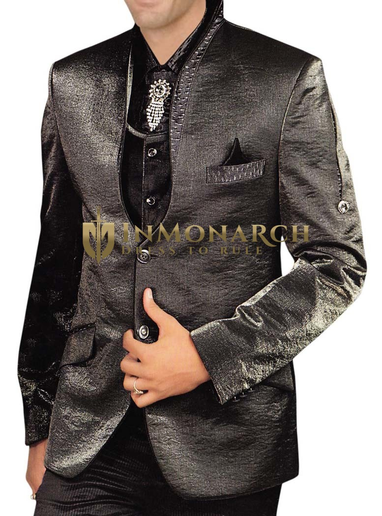 Mens Gray 5 Pc Tuxedo Suit Party Wear