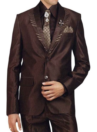 Mens Brown 7 Pc Tuxedo Suit Peak Lapel