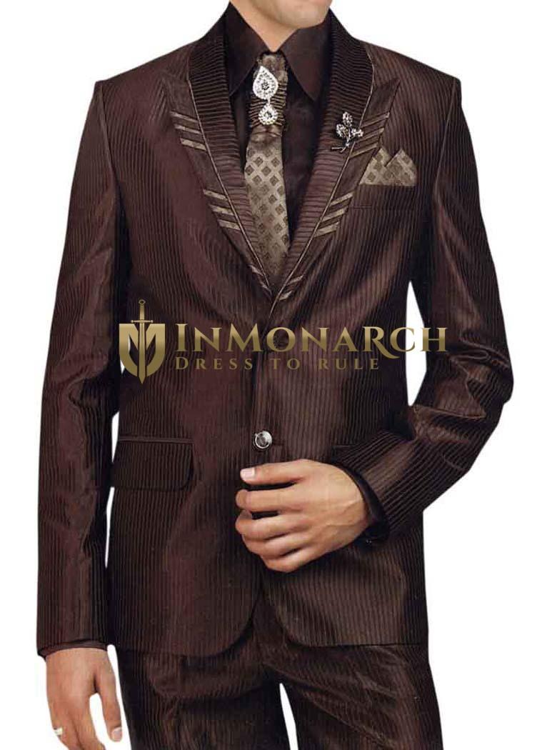 Mens Brown 7 Pc Tuxedo Suit Peak Lapel