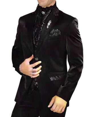 Mens Black 6 Pc Tuxedo Designer Wedding Polyester